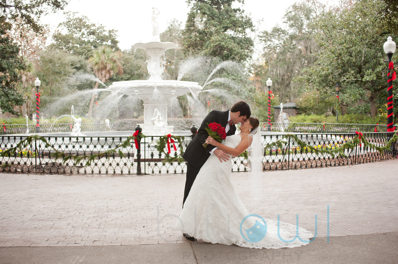 Christmas Wedding Savannah GA Forsyth Park